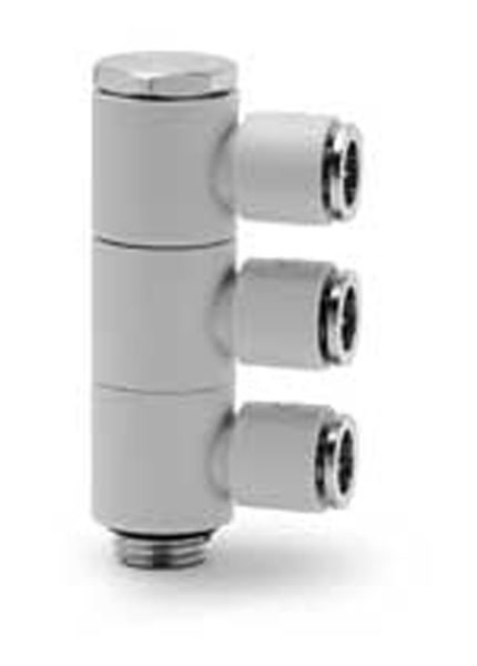 7612 03 Three Single Outlets Plastic Push In Fitting