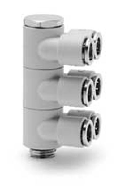 7642 03 Three Double Outlets Plastic Push In Fitting